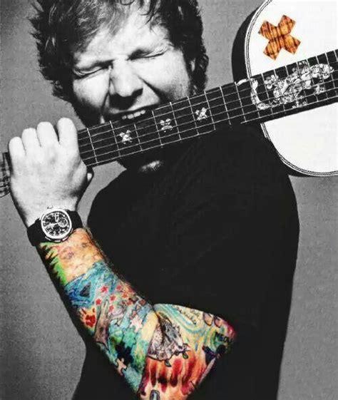 ed sheeran x tattoo biting his guitar ed sheeran pinterest