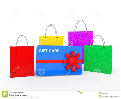 Gift Card Bag - 3d shopping bags and gift card stock illustration image 55494510