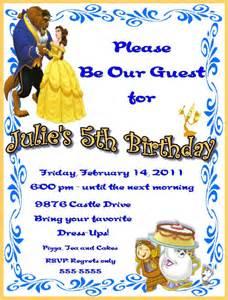 beauty and the beast birthday party invitation ideas