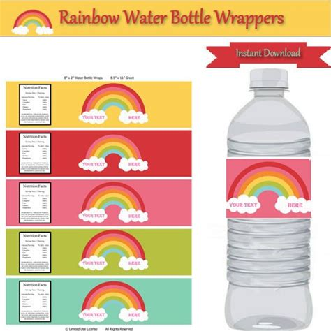birthday water bottle labels template free rainbow water bottle labels personalize birthday decorations dessert table instant