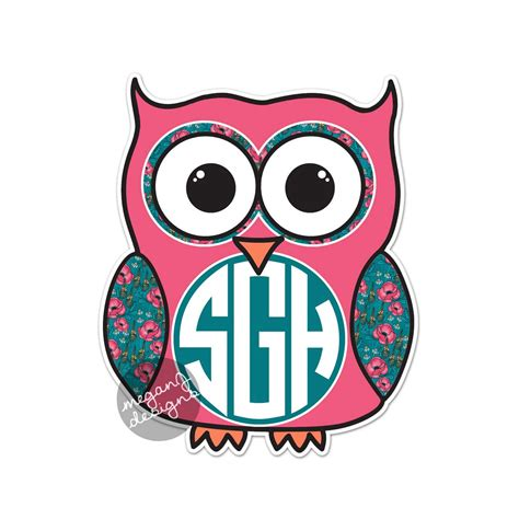 Height Wall Sticker custom monogram owl decal colorful floral cute car sticker