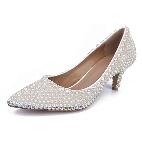 comfortable heel shoes kitten heel shoes wedding handmade pearl wedding shoes