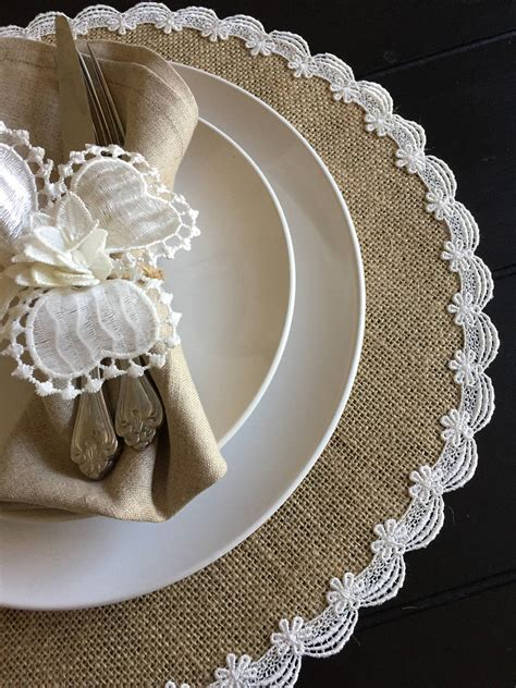Round Burlap Placemats with Scallop Edge Lace Beach Wedding
