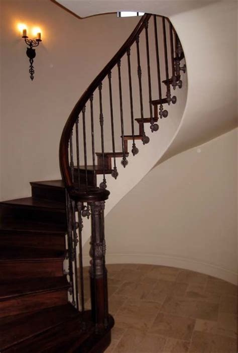 Banister Spindles Metal Wood Railing With Wrought Iron Balusters Traditional