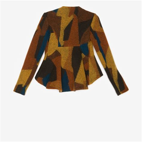 Vc Jaket Qing Mustard Pakaian Jaket Sweater lyst thakoon addition exclusive peplum patchwork cropped jacket in brown
