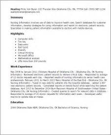 Informatics Resume Professional Nursing Informatics Templates To Showcase Your Talent Myperfectresume