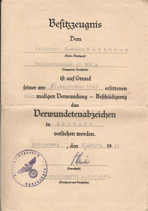 wann dass mit zwei ss verwundetenabzeichen 1939