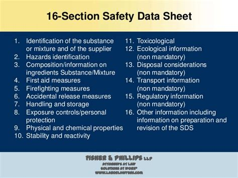 16 sections of msds ghs hazcom standards under msha and osha georgia mining