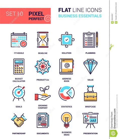 Business Essentials business essentials icons stock vector image 65664697