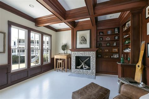 Stained Coffered Ceiling Mahogany Wooden Beams Coffered Ceiling Design