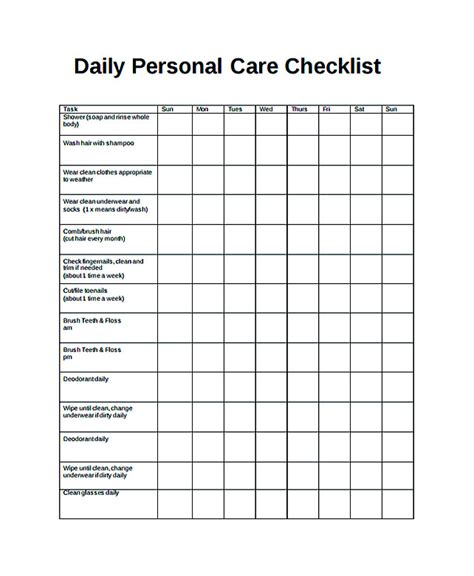 Free Daily Checklist Template And Its Purposes Caregiver Daily Checklist Template