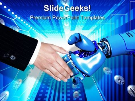 powerpoint themes information technology handshake technology powerpoint template 0610 graphics