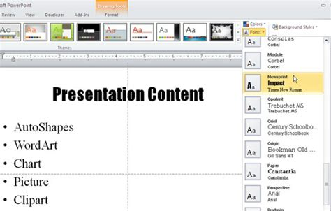 applying themes in powerpoint 2010 applying theme colors and theme fonts in powerpoint 2010