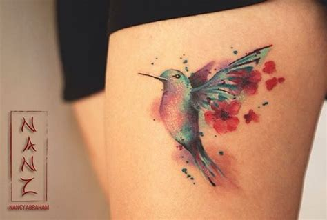 watercolor tattoo que es humming bird qith cherryblossoms by nancy abraham muchas