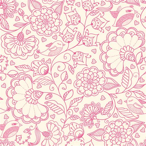 pink pattern free vector pink outlines flower seamless pattern vector 01 vector