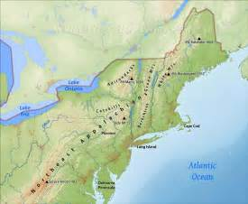 map of northeast us northeastern us physical map