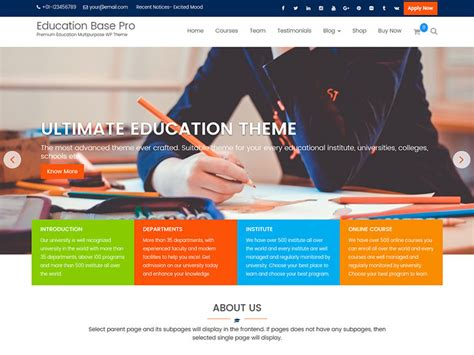 education theme pictures education base pro a complete wordpress education theme