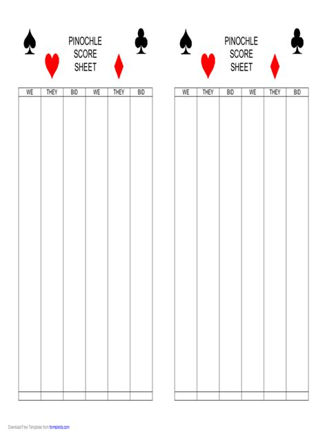 Pinochle Score Card Template by Pinochle Score Sheet 4 Free Templates In Pdf Word