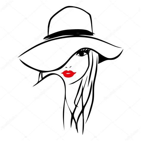 vector line art tutorial illustrator vector ink line art lady wearing floppy hat stock vector