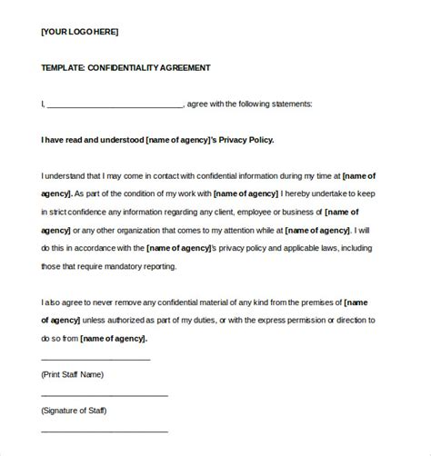 Confidentiality Agreement Free Template confidentiality agreement template 15 free word excel