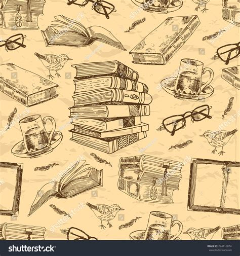 seamless pattern books vintage books sketch seamless pattern bird stock vector