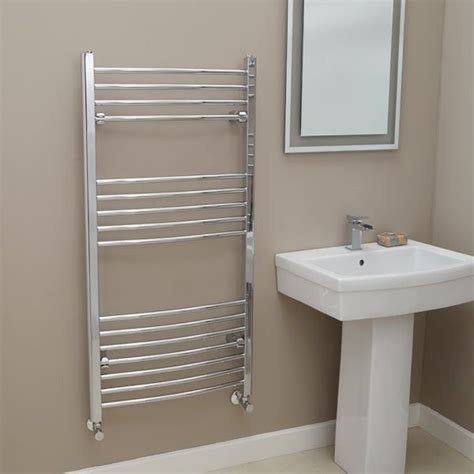 better bathrooms radiators eco heat 1200 x 600 curved chrome heated towel rail