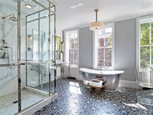Gray bathroom with black and white mosaic tile floor contemporary
