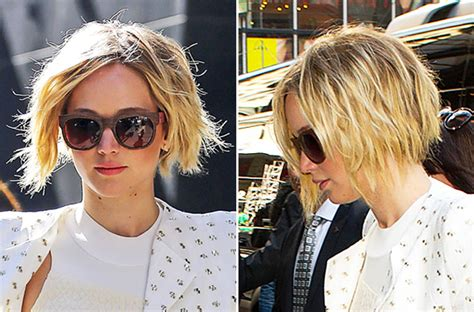 how to grow short hair out into bob hairdo jennifer lawrence grows her pixie into a chin length bob