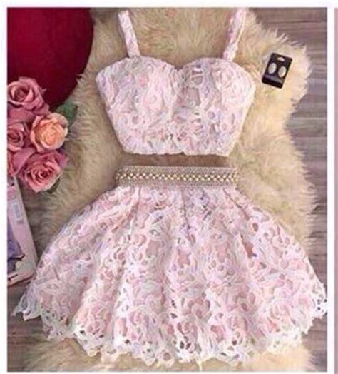 Lace Pink Crop Top Skirt Gaun Malam Dress Baju Pesta Import dress pink lace gorgeous light pink girly dress skirt lace skirt pink
