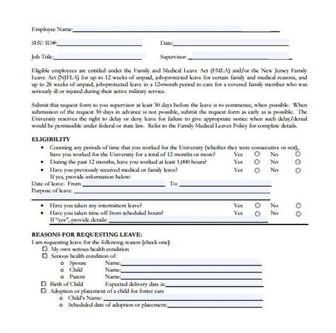 employee sick leave form template 14 leave form templates to for free