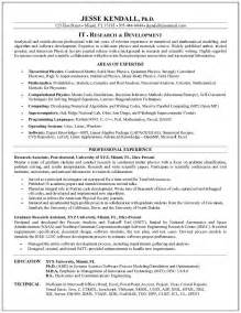 Researcher Resume Exles by Exle Information Technology Research Resume Sle