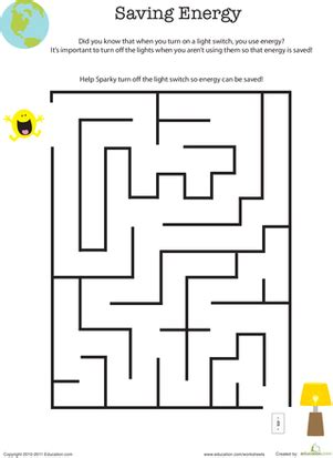 printable science maze eco friendly maze saving energy worksheet education com