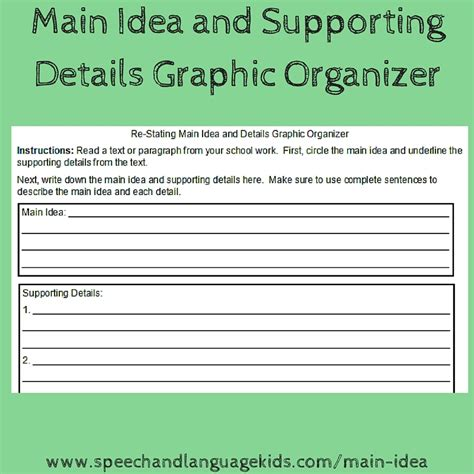 idea organizer helping children to identify main ideas and supporting