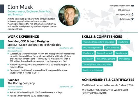 Elon Musk S One Page Resume Get Inspired To Redesign Your Own Cv To Make The Perfect First Elon Musk Resume Template