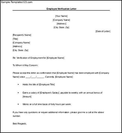 Employment Verification Letter Doc Sle Letter For Employment Confirmation Cover Letter Templates