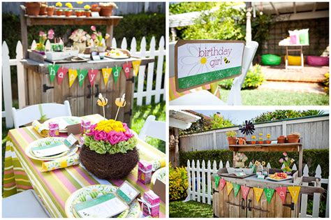Little Girls' Gardening Birthday Party   Pizzazzerie