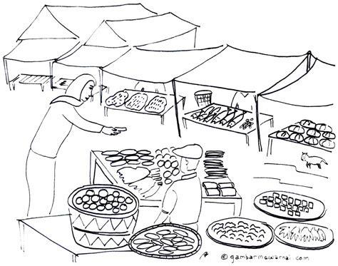 mewarnai gambar keramaian pasar gambar mewarnai