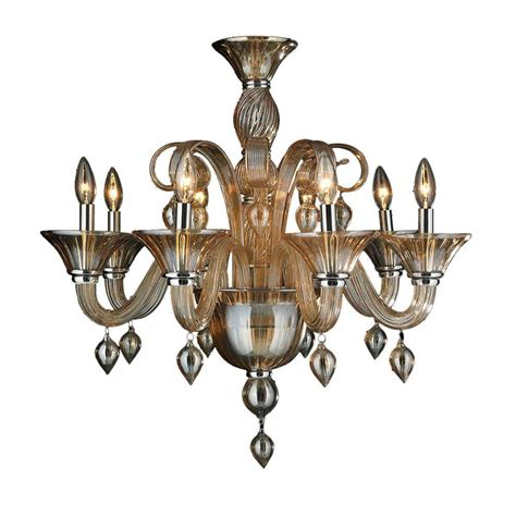 Worldwide Lighting Murano Venetian Style 8 Light Amber Murano Venetian Style Chandelier