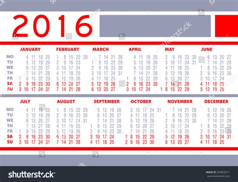 Calendar What Week Of The Year Is It Calendar Year 2016 Week Starts Monday Holidays Are Not