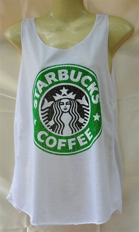 Tangtop Starbuck starbucks white tank top by lionshirt on etsy