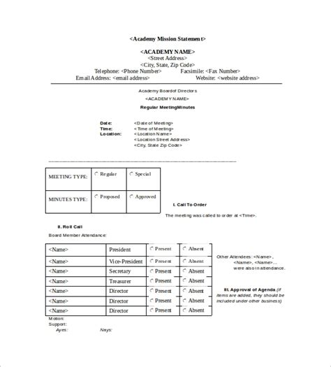 board minute template 42 free sle meeting minutes templates sle templates