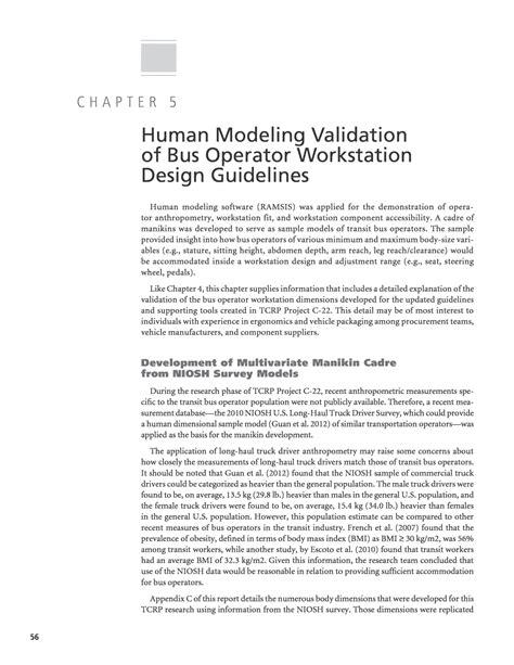 combustor design criteria validation chapter 5 human modeling validation of bus operator