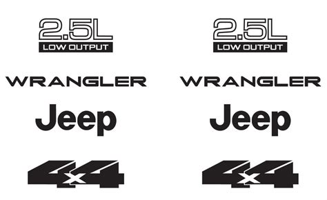 jeep wrangler logo decal jeep wrangler 2 5l 2 5 l 4x4 refresh vinyl decal set