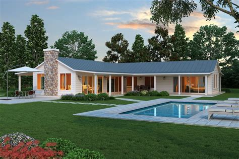 modern ranch style home with land loving layout and modern l shaped farmhouse plan cliff may style ranch