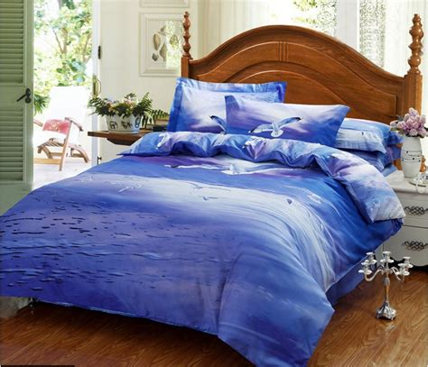 Blue And Purple Bedding Sets 3d Blue Purple Seagull Bird Sea Bedding Set Size Quilt Duvet Cover Bed In A Bag Sheets