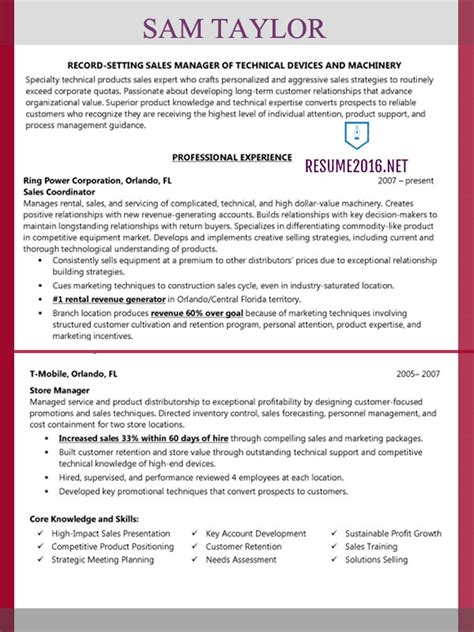 Resume Format Best Sles Sales Manager Resume Exle