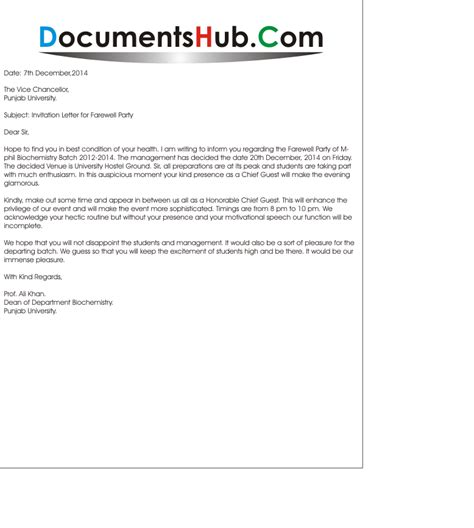 Invitation Letter For Conference As Chief Guest Invitation Letter To Chief Guest Documentshub