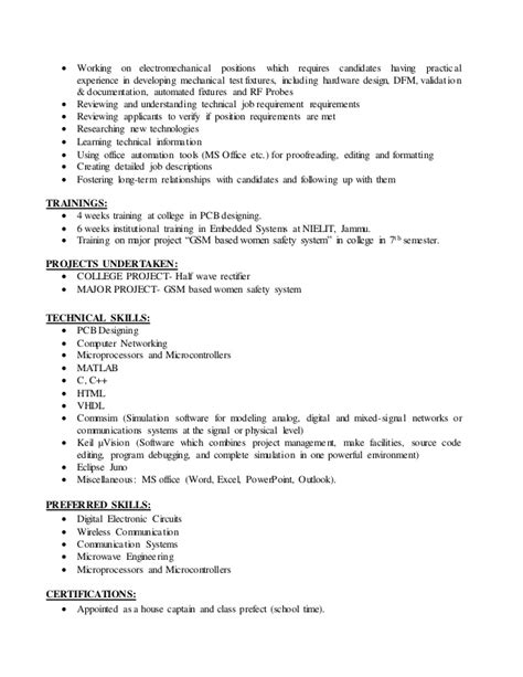 technical skills in resume for ece resume ideas
