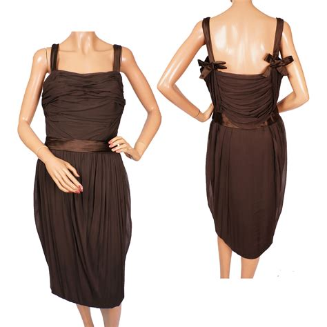 vintage cocktail party vintage 1950s christian dior cocktail party dress brown