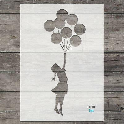 banksy girl balloons stencil wall art stencil airbrush